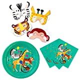 Talking Tables Zoo Party Bundle - Perfect for Jungle, Animal, Farm & Circus Theme Children's Birthday Parties | Paper Plates, Napkins & Masks