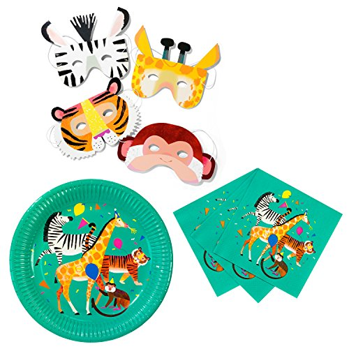 Talking Tables Zoo Party Bundle - Perfect for Jungle, Animal, Farm & Circus Theme Children's Birthday Parties | Paper Plates, Napkins & Masks by Talking Tables