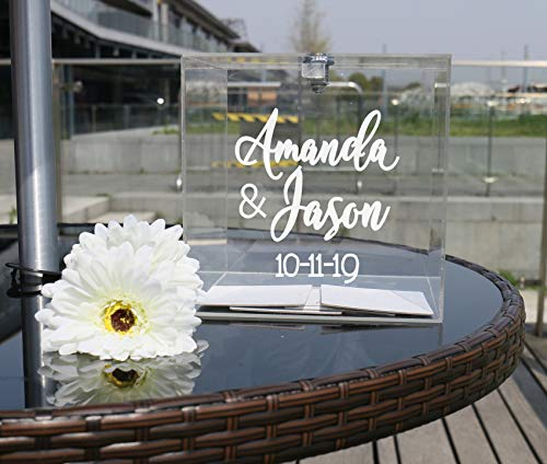 Personalized Wedding Card Box for Reception, Wedding Monogram Names Date, Crystal Acrylic Box with Lid and Lock Key, Custom Party Card Holder Donation Ceremony Decoration ACB1C (White Text) ()