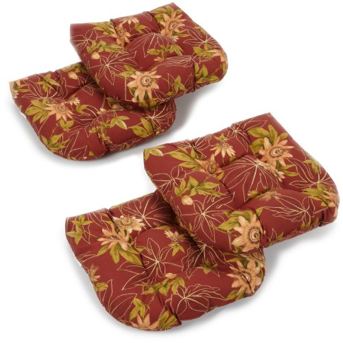 Blazing Needles Indoor/Outdoor Spun Poly 19-Inch by 19-Inch by 5-Inch All Weather UV Resistant U-Shaped Cushions, Passion Ruby, Set of 4 (Passion Ruby Cushions)