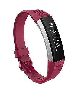 Rawdah Correa De Silicona De Muñeca De Reemplazo Grande Correa Para Reloj Fitbit Alta HR (Rosa caliente)
