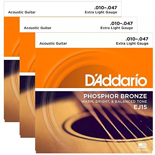 (D'Addario EJ15 Acoustic Phosphor Bronze Extra Light 10-47 (3 Pack)