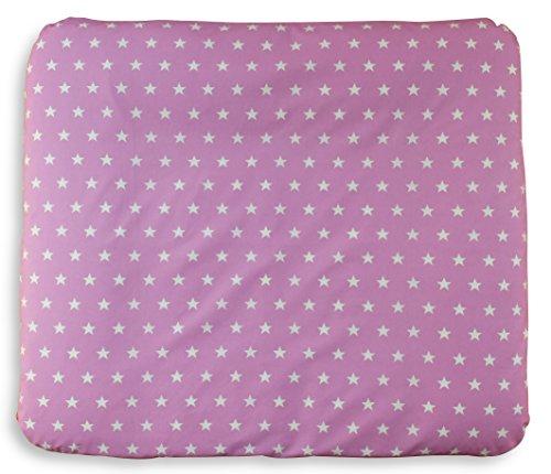 Ideenreich 2253 schadstofffreie Wickelauflage Sterne rosa mit abnehmbaren Bezug, 75 x 85 cm