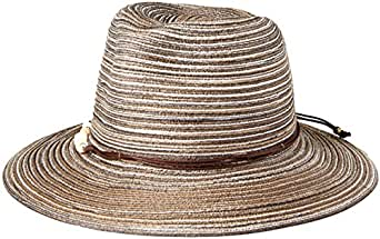 Physician Endorsed Women's Phoenix Beaded Trim Fedora Sunhat Packable & Adjustable, Black, One Size