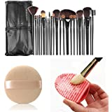24-Piece Makeup Brush Set with Makeup Blender Comestic Sponge Puff and Makeup Washing Brush Cleaner Egg Scrubber