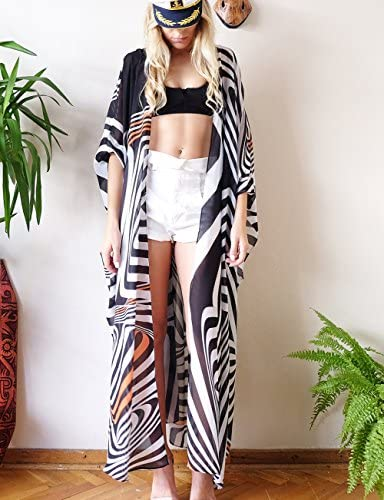 Ailunsnika Women Sexy Print Open Front Kimono Cardigan Loose Beach Cover Up Dress