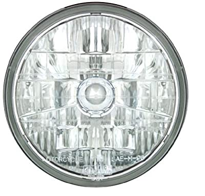 """Adjure T70200 Three Lines on Clear Lens 7"""" Diamond Cut 3K Motorcycle Headlight with H4 Bulb"""
