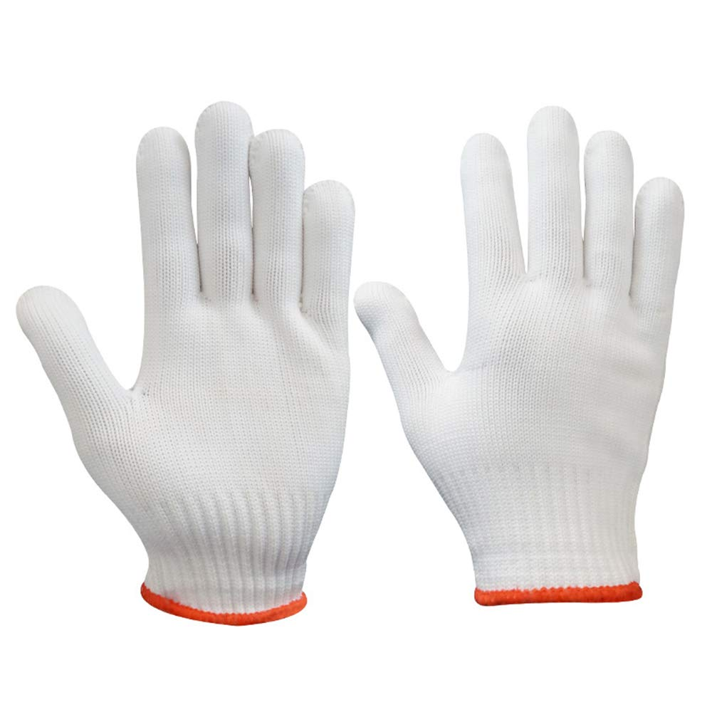 Potelin Cut Resistant Gloves Safety Cutting Gloves for Kitchen/Metal Work/Wood Carving White and Red
