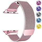 GEOTEL Compatible Apple Watch Band 42mm, Stainless Steel Mesh Milanese Loop Adjustable Magnetic Closure Replacement iWatch Band Apple Watch Series 3 2 1(42MM-Rose Gold)