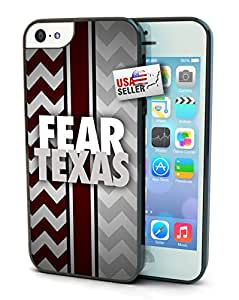 Fear Texas Chevron Sports Hard Black Glossy Cover Cell Phone Case for iPhone 5c