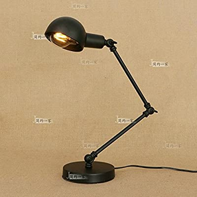 Baycher Simple work eye iron long arm decoration can be folded table lamp american creative office desk bedroom bedside living room study table light black gold E27 desk lamp