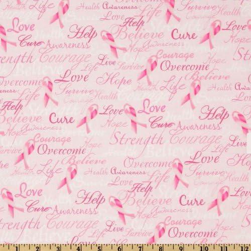 Pink Yard Timeless Treasures Ribbons of Hope