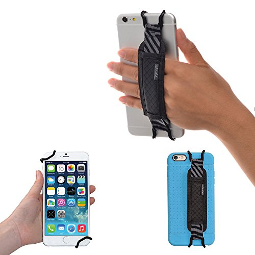 TFY Security Hand Strap Holder for iPhone X / 8/8 Plus - iPhone 6 / 6S (Plus) -iPhone 7/7 Plus - Samsung Galaxy S4 / S5 - Galaxy Note 2/3 / 4 - Nexus 5/6 - Huawei Mate 9 (Black)