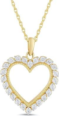 10kt Yellow Gold Womens Round Diamond Heart Pendant 16 Cttw