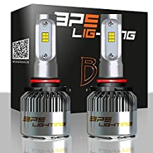 BPS Lighting B2 LED Headlight Bulbs Kit w/Clear Arc Beam 100W 16000LM 6000K - 6500K White CSP LED Headlight Conversion for Replace Halogen Bulb Headlights - (2pcs/set) (9005/HB3)