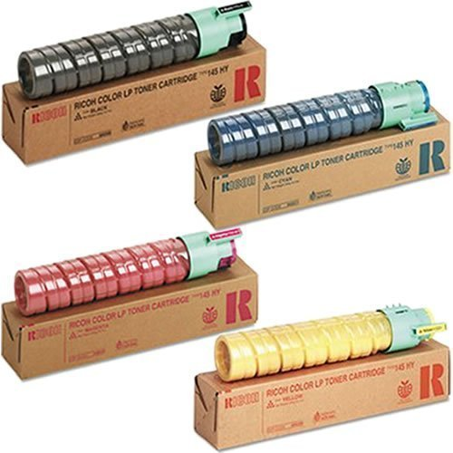 Genuine OEM Set Black Cyan Magenta Yellow Toner Cartridges for Ricoh Aficio CL4000DN SPC410DN 411DN 420DN Savin CLP26DN 27DN 31DN Type 145 - 888308 888311 888310 888309 - Yield 15,000 pages (4 Pack) Genuine Ricoh Black Toner