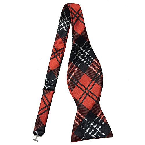 Ainow Classic Polka Dots Bowties Woven Microfiber Self Tie Bow Tie - Various Colors (Red Black White Plaid)