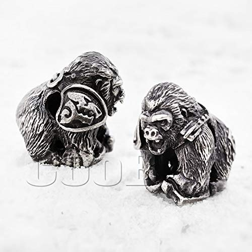 (CooB EDC Paracord Bead Pendant, Charm Zipper Pul. DIY Hand-Casted Amazing Beads Pendants 45 Models for Paracord Bracelet Lanyard Keychain Predator, Darth Vader, Cheshire CAT etc (Wild Gorilla))
