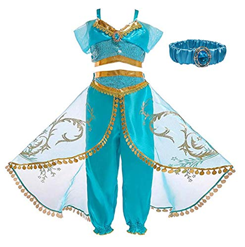 Sinmoocy Jasmine Costume for Girls Princess Dress Up Childs Halloween Fancy Party Clothes Toddler Preschool Role Play Cosplay Dance Outfit Set with Headband Size 2-3 Years/Tag 100