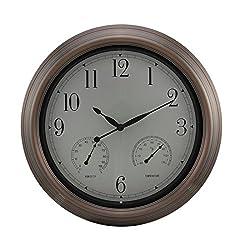 Ashton Sutton Indoor/Outdoor Wall Clock, Copper Finish Case