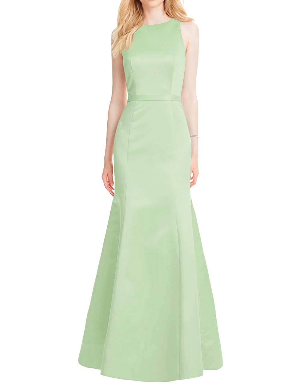 Mint Mermaid Prom Dresses Long Satin Evening Formal Gowns Backless Maxi Party Dress