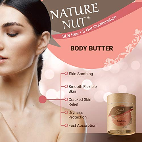 51ji8RWI7EL - Body Butter Cream Skin Moisturizer - Anti Aging Tightening and Firming Body Lotion for Dry Skin with 5 Nut Hydration Boost Skin Glow Formula