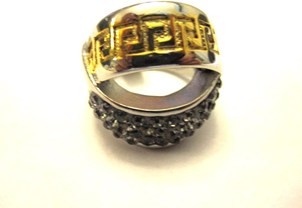 Authentic Stainless Steel Yellow and Black Ring Size 6