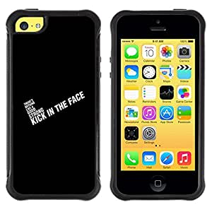 Suave TPU Caso Carcasa de Caucho Funda para Apple Iphone 5C / Black Text White Inspiring Quote Motivating / STRONG