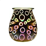 COOSA Electric Oil Warmer 3D Effect Circles Beautiful Glass Wax Tart Burner Night Light Aroma Decorative Lamp for Gifts Decor (Multicolor)