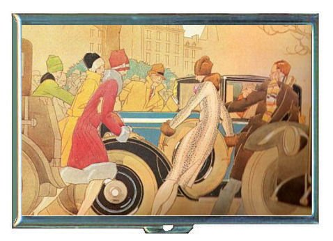 1920s FLAPPERS WITH VINTAGE CAR ART DECO Double-Sided Cigarette Case, ID Holder, Wallet with RFID Theft Protection