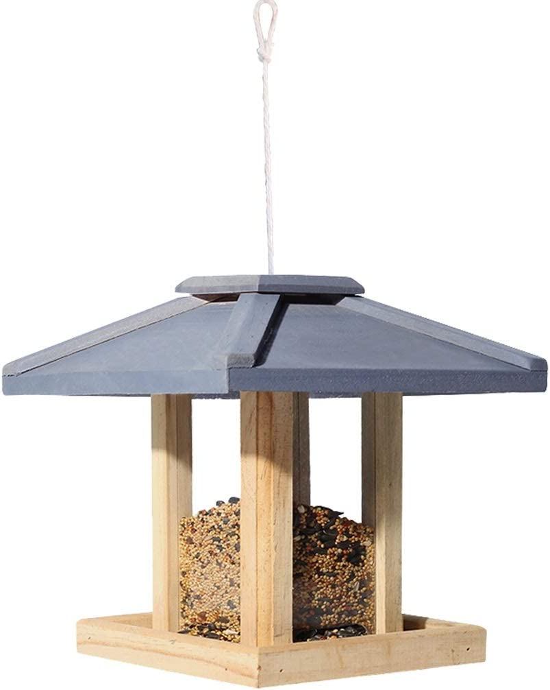 LIYONG Alimentador De Pájaros Con Soporte De Pared, Alimentador De Pájaros Alimentador De Semillas De Aves Silvestres Colgantes For Mezclas De Semillas, Mesa De Pájaros De Madera Alimentador De Pajare