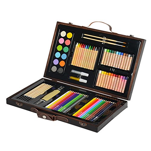 Artist art drawing set, Inspiration Art Case For Portable Art And Coloring Products, 86 Pieces, Children's Gift Gloves, Advanced Artwork - Wooden Paintings, Paintings, Etc. Gifts for children and chil by JIANGXIUQIN (Image #4)