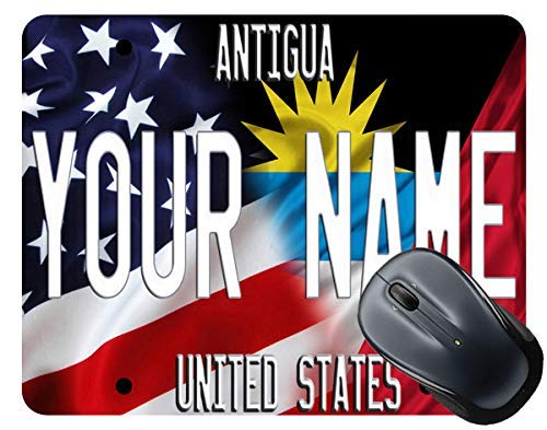 BRGiftShop Personalize Your Own Mixed USA and Antigua Flag Mouse Pad