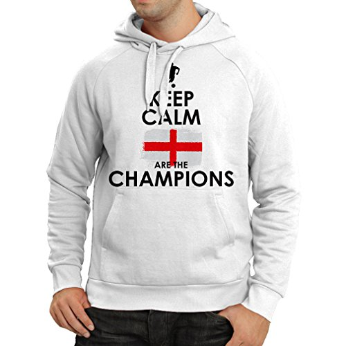 N4517H Hoodie Keep Calm, English are the Champions! (Medium White - Cheapest Soccer Jerseys Online
