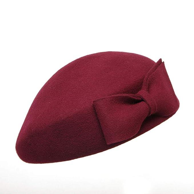 fccb10691e412 Sombrero del Invierno De Las Mujeres Boina Francesa De Las Lanas del Color  Sólido