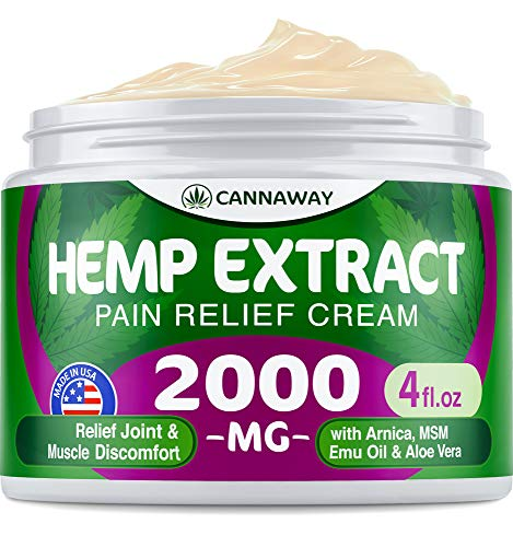 Hemp Cream for Pain Relief - 2000 Mg - Hemp Oil Cream for Sore Muscles & Joint Pain - Hemp Oil, Arnica, Emu Oil - Natural Arthritis & Back Pain Relief - Anti Inflammatory Cream - Made in USA (Best Massage Oil For Back Pain)