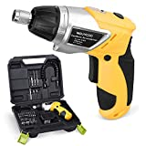 NOUVCOO Cordless Screwdriver Set, 47Pcs Kits Power Screw Guns with Rechargeable 3.6V 1300mAh Li-ion Battery/Anti-shock & Moistureproof Design, Extension Driver, Bits, Plug, Case, Built-In LED Lights NC36