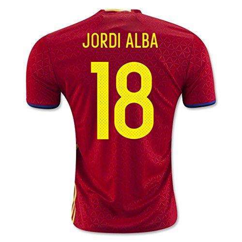 Price comparison product image Red 18 Jordi Alba Home Match Football Soccer Adult Jersey EURO 2016