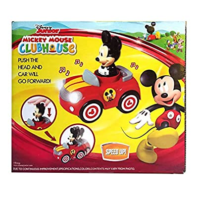 Disney Junior Mickey Mouse Clubhouse Push and Go Racer Car with Light and Sound for Toddlers, Boys and Girls, Red: Toys & Games