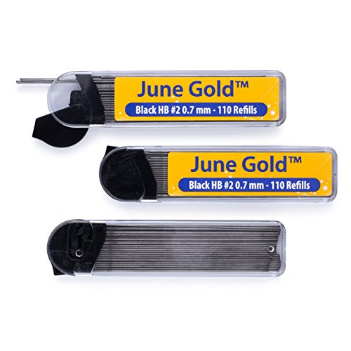 June Gold 330 Lead Refills, 0.7 mm HB #2, Medium Thickness, Break Resistant Lead with Convenient (Propelling Pen Refill)