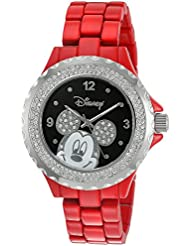 Disney Womens Mickey Mouse Quartz Metal and Alloy Watch, Color:Red (Model: W002894)