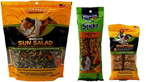 - Vitakraft Guinea Pig Treats 3 Flavor Variety Bundle (1) Each: Sun Salad, Crunch Sticks Apple Orange, Snappers Banana Cranberry (2-10 Ounces)