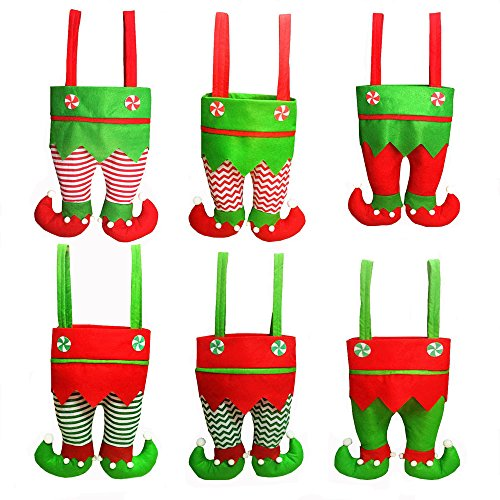Honeystore Christmas Elf Boots Candy Cookie Gift Bag Sack Stocking Filler Xmas Party Decoration Sack-Pack of -
