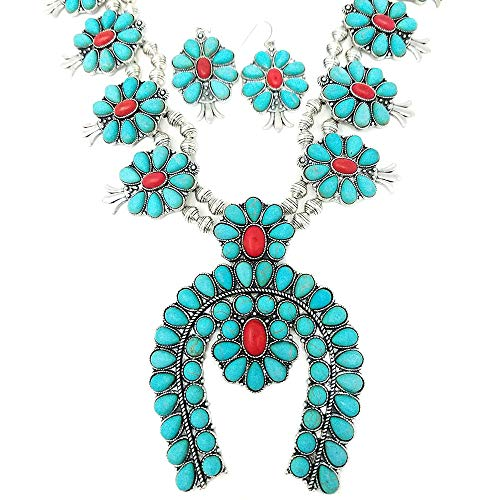 Squash Blossom Turquoise Statement Necklace and Earrings Set Western Naja Pendant ()