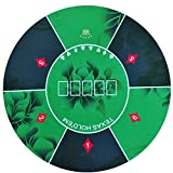 Texas Hold'em Round Poker Mat 47 Inches Diameter Green Flower Pattern Rubber Gaming Pad