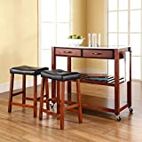 Crosley Furniture Portable Kitchen Cart with Stainless Steel Top and 24-inch Upholstered Saddle Stools - Classic Cherry