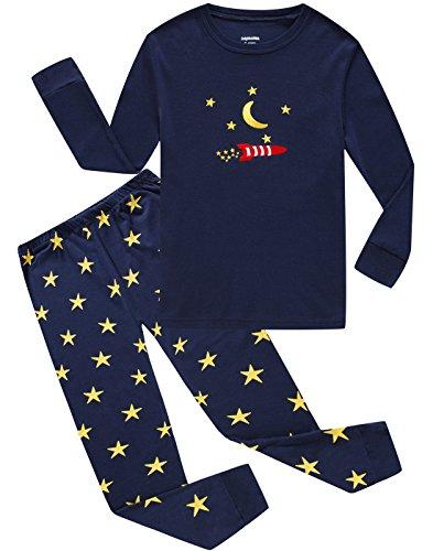 Moon Dolphins (Dolphin&Fish Boys Pajamas Little Kids Pjs Sets Moon&Star Cotton Toddler Sleepwears Size 7T)