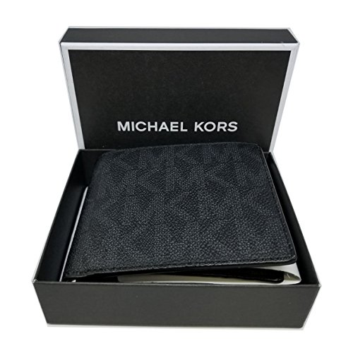 Michael Kors Jet Set Black Men's Billfold W/Passcase Wallet (36H7LMNF6B)