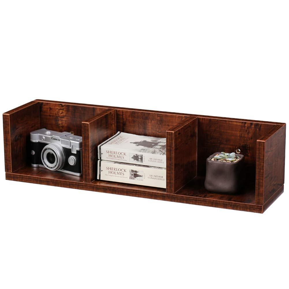 Nice SUPERJARE Wall Mounted Corner Shelf, Floating Desk Hutch, Hanging Square  Cabinet, Display Bookcase, Freestanding Modular Storage Cube, 3 Tier    Walnut Brown