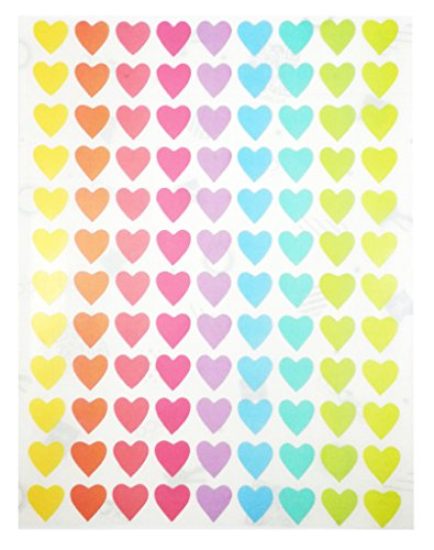 Pastel Soft Color Labels - Heart Self Adhesive Labels 9 Assorted Pastel Colors, 10 Sheets pack/1080 Dots per Pack (0.5 inch (12 - Assorted Pastel Colours